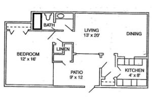 1 Bed / 1 Bath / 728 sq ft