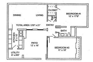 2 Bed / 1 Bath / 1,043 sq ft