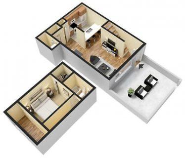 1 Bed / 1½ Bath / 738 sq ft